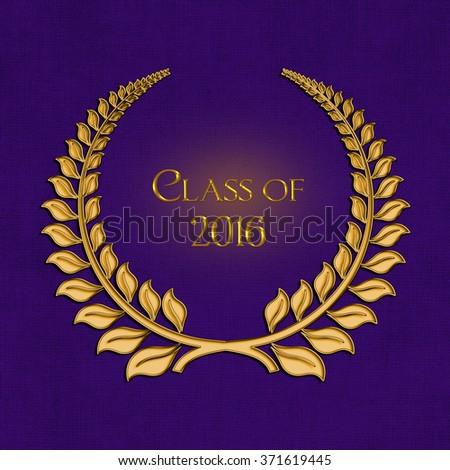 graduation 2016 ornate gold laurel wreath on textured purple background  - stock photo