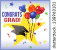 Graduation Party Design for 2013.  Graduation party design with balloons, confetti and a graduation cap with a golden tassel. The words are 'Congrat' and 'Grad'. - stock photo