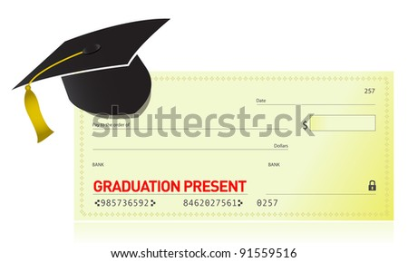 graduation present and graduation hat illustration design