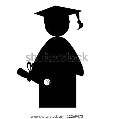Graduation senior seniors diploma hat gown - stock photo