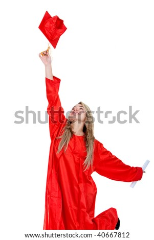 Graduation student jumping isolated over a white background - stock photo