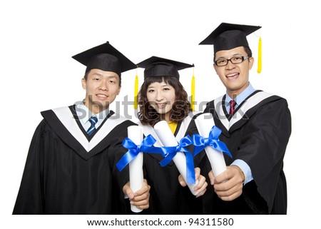 graduation students isolated on white background - stock photo