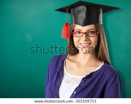 Graduation, teacher, classroom. - stock photo