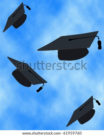 Graduation tossing of the caps in the sky - stock photo