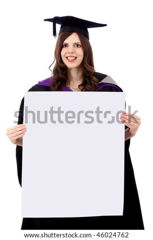 Graduation woman with a banner isolated over a white background