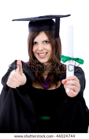 Graduation woman with thumbs up isolated over a white background