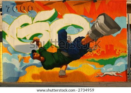 Graffiti art in Los Angeles. - stock photo