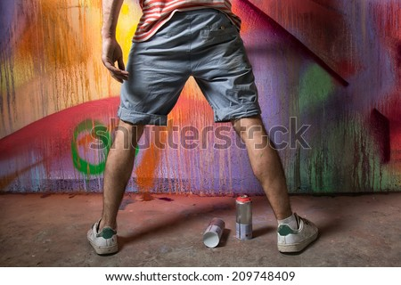 graffiti artist in action - stock photo