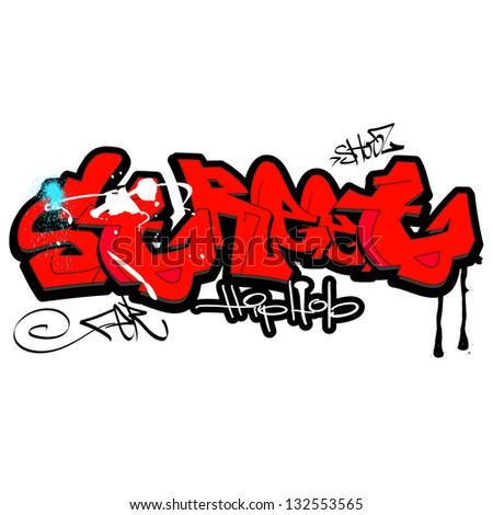 Graffiti background, urban art - stock photo