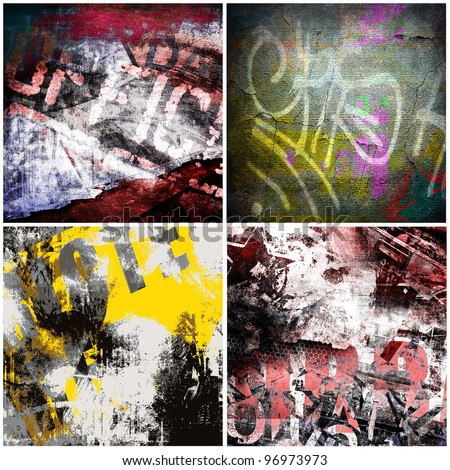 Graffiti backgrounds, grunge texture set - stock photo