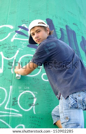 Graffiti boy - stock photo