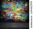 graffiti brick wall - stock