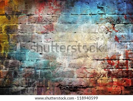 Graffiti brick wall, colorful background - stock photo