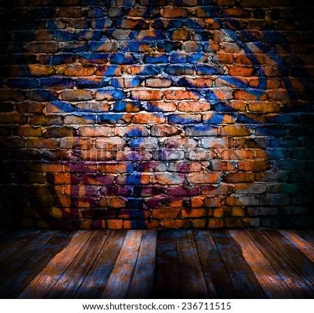 graffiti brick wall with plank wood  - stock photo