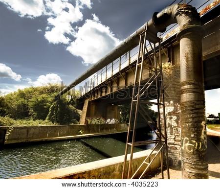 graffiti bridge - stock photo