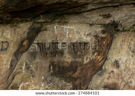 Graffiti carved into the walls of St Cuthbert's Cave, Northumberland, England, where medieval monks are reputed to have hid the saints body from marauding Viking's.