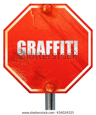 graffiti, 3D rendering, a red stop sign - stock photo