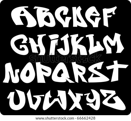 graffiti font alphabet design - stock photo