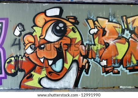 Graffiti: funny creature 1 - stock photo