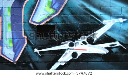 Graffiti Low Flying - stock photo