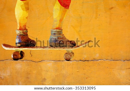 Graffiti of a pair of feet riding a skateboard on a grungy yellow color wall.  - stock photo