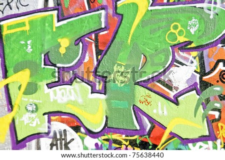 Graffiti on a wall in Amsterdam the Netherlands - stock photo