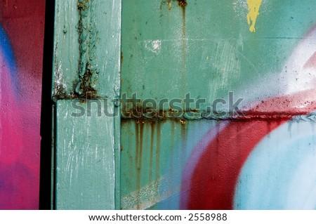 Graffiti on old metal - stock photo