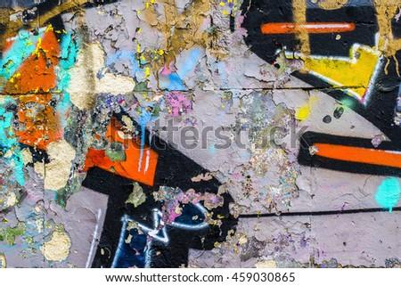 Graffiti on the wall. Beautiful abstract street art - stock photo