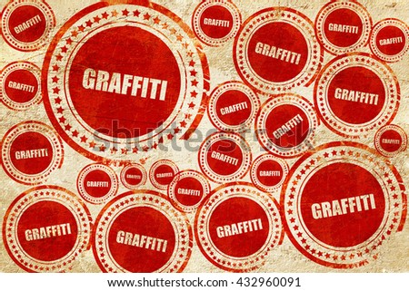 graffiti, red stamp on a grunge paper texture - stock photo