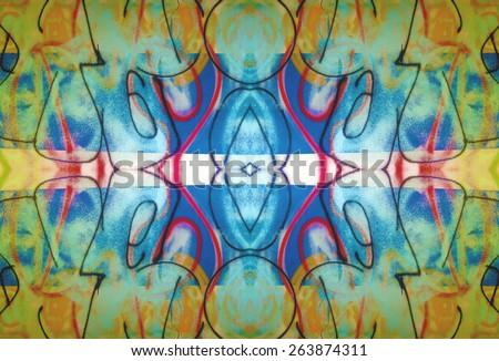 Graffiti Reflection creates a seamless pattern. - stock photo