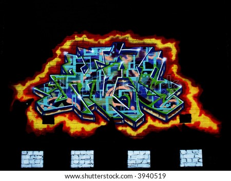 Graffiti Ring of fire - stock photo