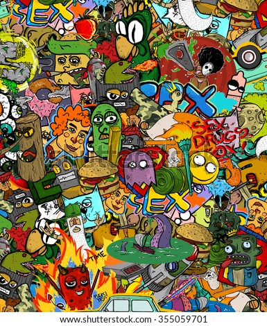 Graffiti seamless texture with social media signs and other shiny icons. Graffiti sticker pattern. Graffiti pattern. Graffiti background. - stock photo