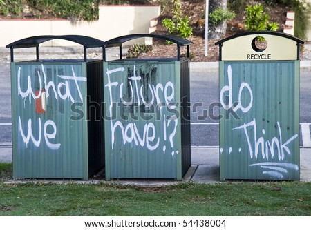 Graffiti showing the actual concerns of many people, mainly teenagers - stock photo