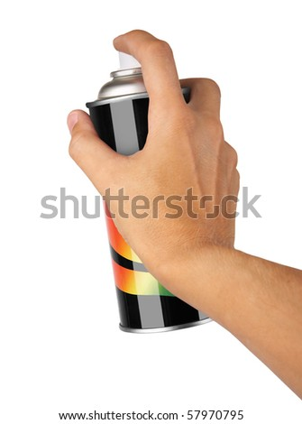graffiti spray can in hand isolated on white background - stock photo