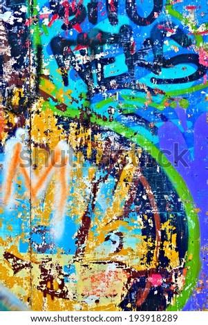 Graffiti  / Street art / Abstract / Peeling paint - stock photo