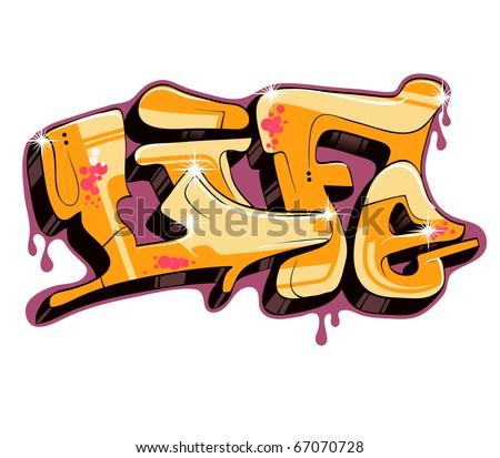 Graffiti text design. Urban art - stock photo