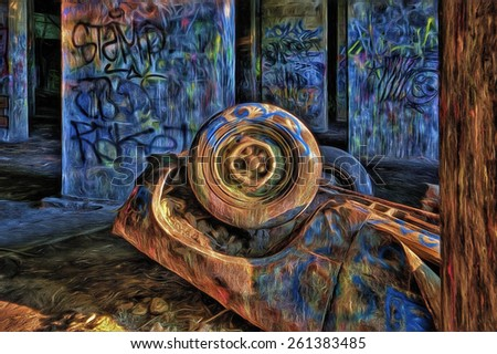 Graffiti Underground in Philadelphia, Pennsylvania - an abandoned coal pier where young people engage in paintball and graffiti - stock photo