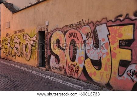 Graffiti wall in Rome,Italy - stock photo