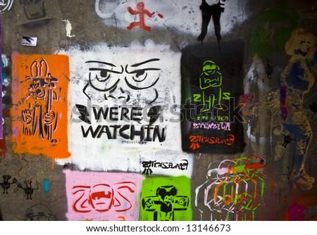 Graffiti Wall London - stock photo
