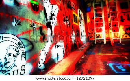 Graffiti Wall London CANS festival - stock photo