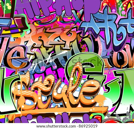 Graffiti wall vector abstract background - stock photo