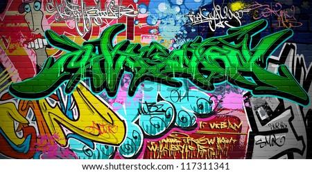 Graffiti wall vector urban art - stock photo