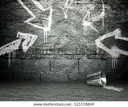 Graffiti wall with frame and arrows, street art background - stock photo