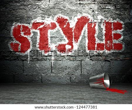 Graffiti wall with style, street art background - stock photo