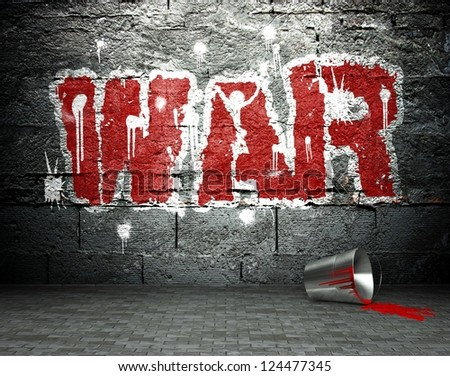 Graffiti wall with war, street art background - stock photo