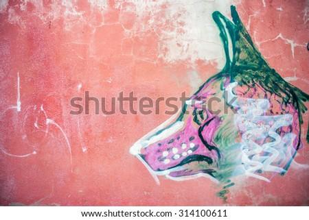 grafitti wall dog - stock photo
