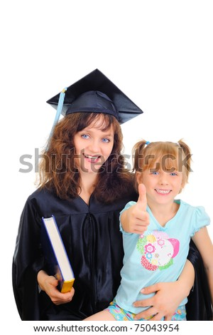 Grafuating mom with cute daughter - stock photo