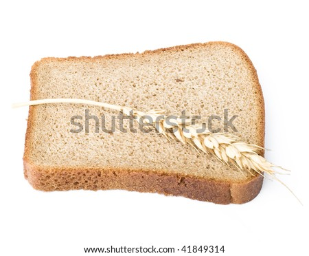 grain bread and ear of wheat - stock photo