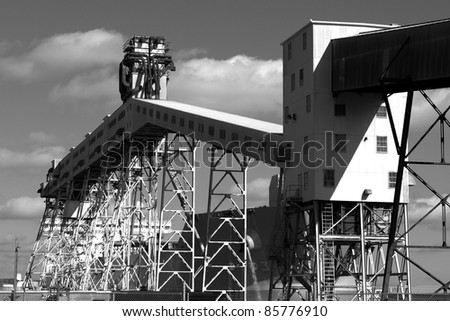 Grain conveyor at a major shipping terminal - stock photo
