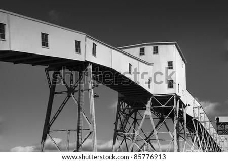Grain conveyor at a major shipping terminal - stock photo